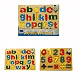 Childrens Kids Learning Wooden Lowercase Letters ABC Alphabet or 123 Numbers Puzzle Board Toys (1 OF EACH PUZZLE)