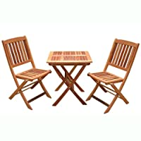 VIFAH V03SET1 Outdoor Wood 3-Piece Bistro Set, Natural Wood Finish, 24 by 24 by 27-Inch by VIFAH