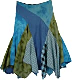 "TLB Cheery Blue Bohemian Fringed Skirt L:27""-41""(uneven fringed hem);W:28""-36"""