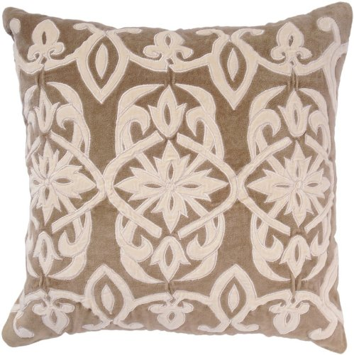 Rizzy Home T-2478B 18-Inch By 18-Inch Decorative Pillows, Tan/Off White, Set Of 2 front-205104