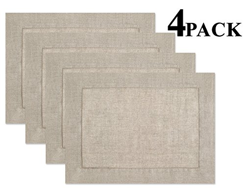 100% Linen Hemstitch Placemats – (Set of 4) Size 14×19 Natural – Hand Crafted and Hand Stitched Placemats with Hemstitch detailing. The pure Linen fabric works well in both casual and formal settings