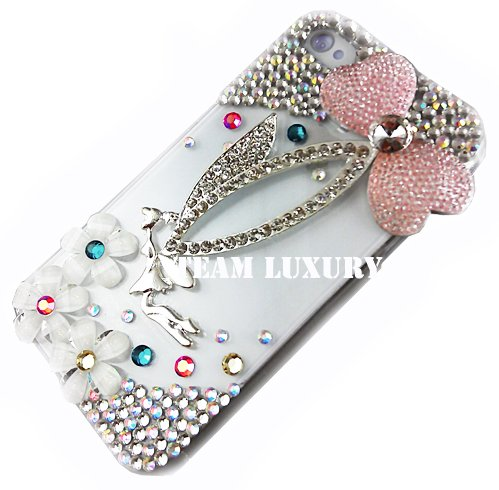 Bling AB Crystal Silver Angel Rhinestone Case Cover for Iphone 4 4G 4S
