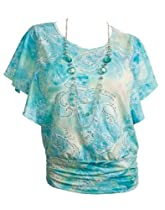 eVogues Plus Size Glitter Designer Print Necklace Top Sky Blue - 3X