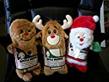 3 PACK ★ PLUSH PUPPIES BOTTLE BUDDIES ★ DOG PET CHRISTMAS TOYS ★ CRACKLER SQUEAKER