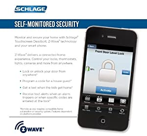 (New Model) Schlage Connect Camelot Touchscreen Deadbolt with Z-wave Technology and Extra Key (Bright Chrome)