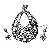 Feuille en bronze et cristal Ensemble de bijoux et Design Fleur de collier et boucles