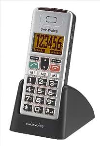 Swissvoice MP01 Téléphone mobile Ecran rétroéclairé Clavier verrouillable Mains-libres SMS Noir/Argent