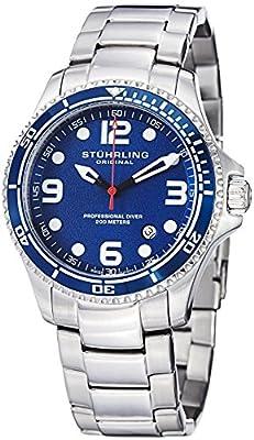 "Stuhrling Original Mens ""Specialty Grand Regatta"" Stainless Steel Professional Swiss Quartz Dive Watch"