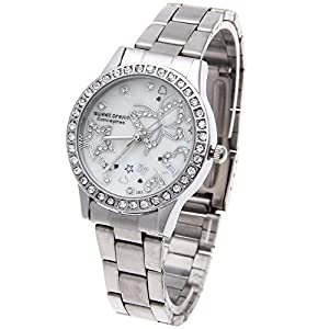 Women Quartz Wrist Watch Stainless Steel Band Rhinestone Bezel Analog Chic New