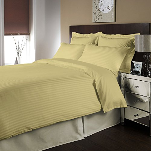 Twin Size 100% Egyptian Cotton 8 Piece Bed In A Bag Collection 400 Thread Count Stripe-Yellow Created By Fantasy Nap