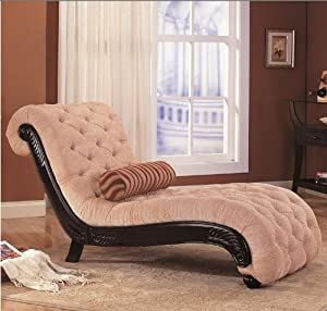 Coaster chaise lounge with tufted beige - Amazon bedroom chairs and stools ...