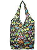 Trendy Sturdy Shopping Tote Bag - Rainbow Butterflies Pattern (Brown)