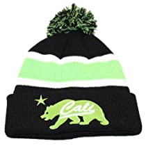 Pom on top black neon green winter california republic bear star cuff beanie