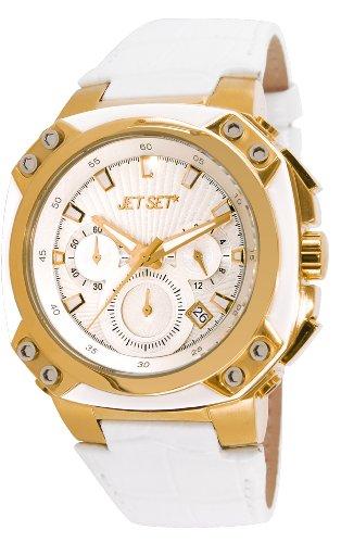 Jet Set - J64117-631 - Prague - Montre Mixte - Quartz Chronographe - Cadran Blanc - Bracelet Cuir Blanc