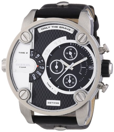 Diesel DZ7256 sba oversize black chrono pyramid dial black leather band men watch NEW