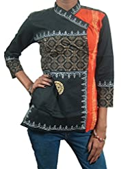 Indiatrendz Traditional Style Kurti Cotton Printed Top And Tunic For Womens-Small