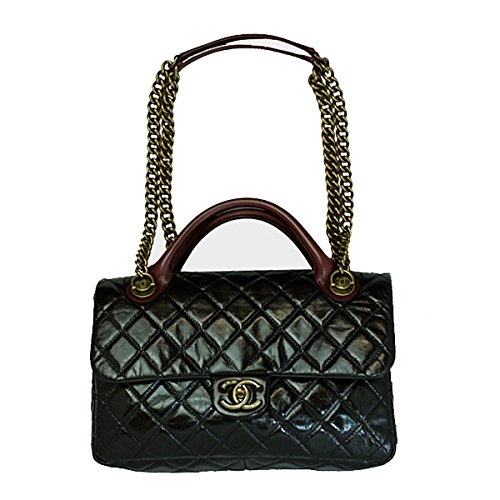 CHANEL Women's Vintage Leather Chain Shoulder/Hand Bag Black A67800