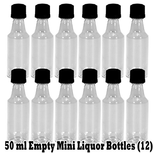 Mini ROUND Plastic Alcohol 50ml Liquor Bottle Shots + Caps (12) (50 Ml Liquor Bottles compare prices)