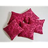 Swayam Drape And Dream Printed Cotton 5 Piece Cushion Cover Set - Magenta (CC165-9008 )