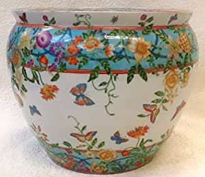 Butterfly garden chinese porcelain fish bowl 18 amazon for Fish bowl amazon