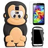 Semoss 2 in 1 Mobile Accessories - Cute Monkey Silicone Case Cover With Screen Protector For Samsung Galaxy S5 i9600 (black)