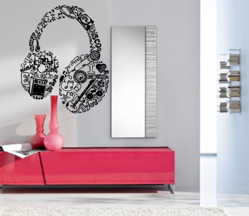 Headphones Rock Pop Music Entertainment Decor Wall Mural Vinyl Art Sticker M354