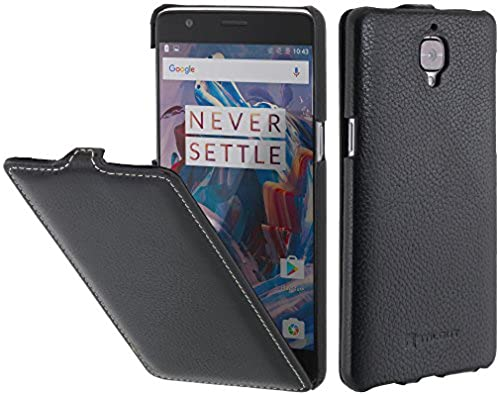06. StilGut UltraSlim, Genuine Leather Case for OnePlus 3 with Sleep Mode Function, Black