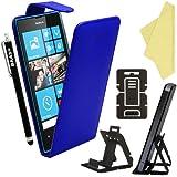 BAAS® Coque Nokia Lumia 520 Bleu Etui Cuir Clapet Housse + Film de Protection d'Ecran + Stylet Pour Ecran Tactile Capacitif