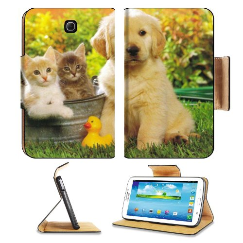 Kitten Puppy Friends Outside Play Time Samsung Galaxy Tab 3 7.0 Flip Case Stand Magnetic Cover Open Ports Customized Made To Order Support Ready Premium Deluxe Pu Leather 7 12/16 Inch (190Mm) X 5 5/8 Inch (117Mm) X 11/16 Inch (17Mm) Msd Galaxy Tab3 Cases