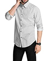 Esprit Camisa Hombre Slim Fit, gemustert 124EO2F014 (Blanco)