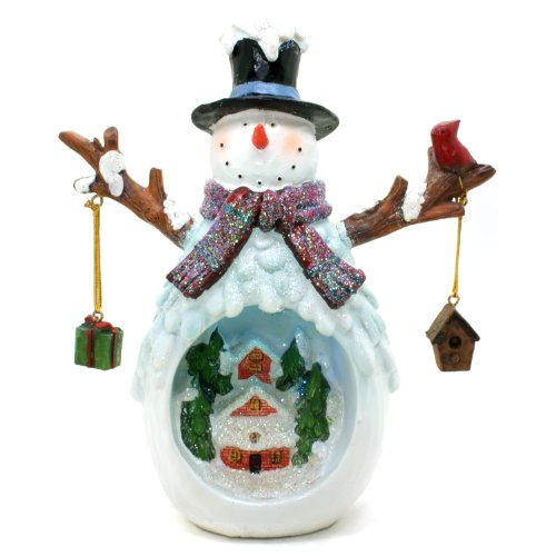 TII Collections Christmas Village Snowman LED Light Figurine With Hanging Ornaments and Cardinal - Lights Up!