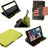 iGadgitz Green PU Leather Case Cover for Google Nexus 7 2012 1st Generation Android 4.1 Tablet 8GB 16GB. With Sleep/Wake Function, Integrated Hand Strap + Screen Protector (NOT suitable for the 2nd Generation released August 2013)