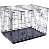 Merax 24-Inch Double-Doors Folding Pet Dog Cage Crate Kennel With ABS Tray Black (Black, 24