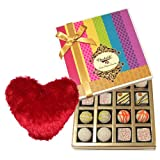 Valentine Chocholik's Belgium Chocolates - Marvelous Treat Of White Truffles Box With Heart Pillow