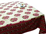 LinenTablecloth 60 x 86-Inch Rectangular Cotton Tablecloth - Pink Green Table Cloth 6 Seater - Thanksgiving Wedding Dining Room Rectangle Party Tablecloths for Rectangle Tables