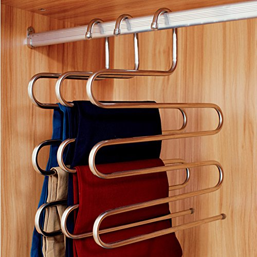 Ecolife Sturdy S-type Multi-Purpose Stainless Steel Magic Pants Hangers Closet Hangers Space Saver Storage Rack for Hanging Jeans Scarf Tie, Family Economical Storage ! (1 Pce) (Hanger Space Saver compare prices)