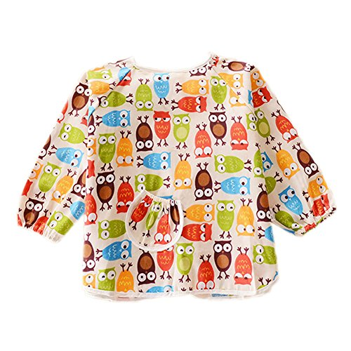 Owl Cotton Waterproof Sleeved Bib Baby Feeding Bibs Art Smock, 2 PCS - 1