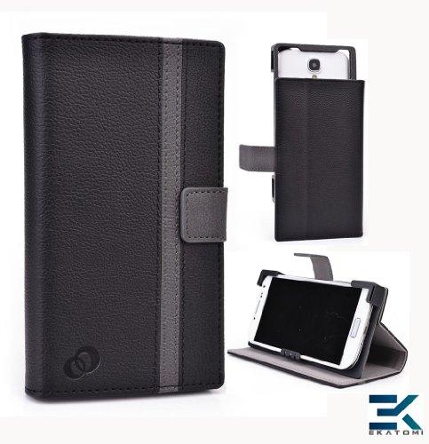 Bi-Cast Universal Book Folio Phone Cover Fits Sony Xperia Z1 Compact Case - Black & Gray. Bonus Ekatomi Screen Cleaner