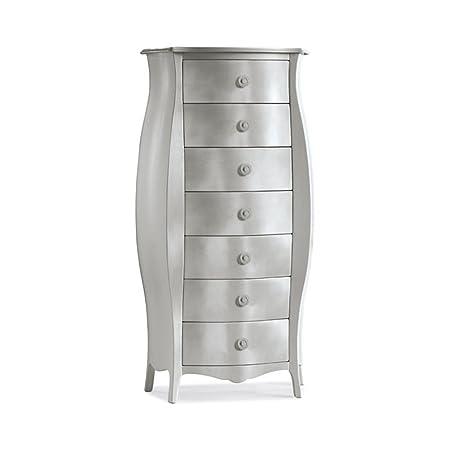 Cómoda redondeada, estilo clasico, en madera maciza y mdf con acabado hoja de plata - Medidas 74 x 31 x 142