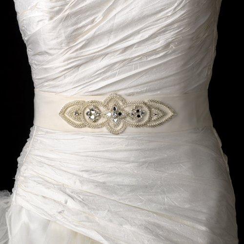 Majestic Pearl & Rhinestone Accented Wedding Bridal Sash Belt - White