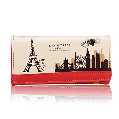Uming® Colorful Fashion Variopinta moda PU delle donna della borsa borsa del portafoglio signora Clutch Wallet Purse borsetta Zipper Card Slots Pouch Handbag Torre Eiffel Paris Postmark | Stripe-Pink