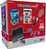 echange, troc Console PS3 320 Go Noire + Virtua Tennis 4 + Pack Découverte PS Move + Raquette