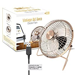 Twitfish® Vintage Art Deco USB Desk Fan 6\'\' (6\'\')