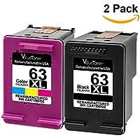 2-Pack ValueToner Remanufactured Ink Cartridge for HP 63XL
