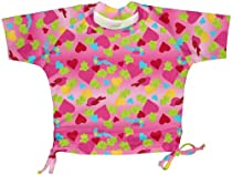 i play. Baby-girls Infant Short Sleeve Tie Rashguard Shirt, Hot Pink Bird and Hearts, 12 Months
