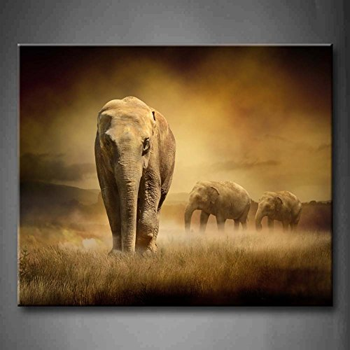 Brown Elephants At Sunset Dry Grassland Wall Art Painting Pictures Print On Canvas Animal The Picture For Home Modern Decoration (Stretched By Wooden Frame,Ready To Hang)