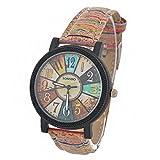 Souarts Womens Artificial Leather Vintage Pattern Analog Quartz Wrist Watch Coffee 24.5cm