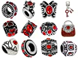 Timeline Trinketts Rhinestone Birthstone Charm Bracelet Beads Fits Pandora Jewelry - Ruby Red
