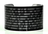 Binary Computer Bracelet - Wide Aluminum Cuff - Programmer Gift - Black with Silver Text