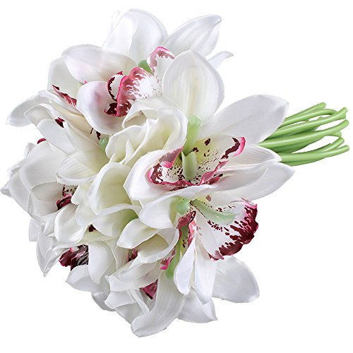 GTidea Artificial 18 Heads Wedding Silk Cloth Flowers Whelan Hui Orchid Full Hand Tied Bouquet Blossom Home Garden Dining Room Decor White